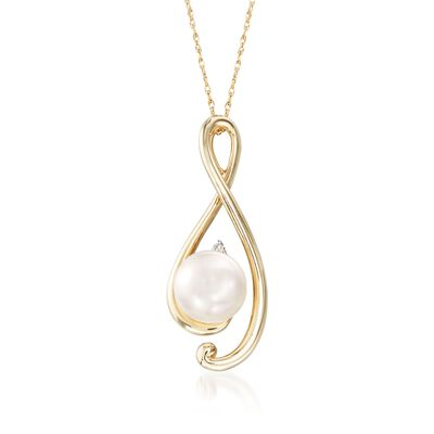 8-8.5mm Cultured Pearl Free-Form Pendant Necklace in 14kt Yellow Gold, , default