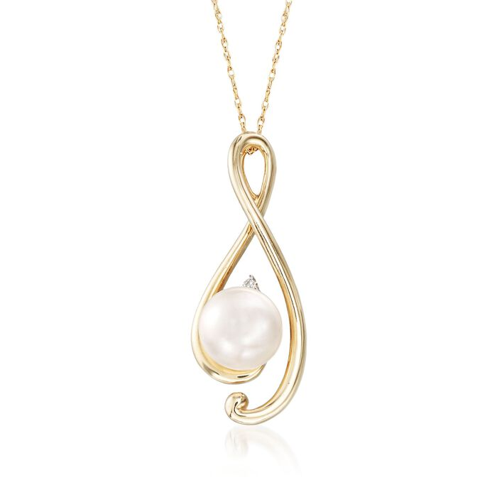 "8-8.5mm Cultured Pearl Free-Form Pendant Necklace in 14kt Yellow Gold. 18"", , default"