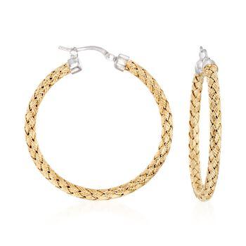 """Charles Garnier """"Milan"""" Two-Tone Sterling Silver Medium Hoop Earrings. 1 1/2"""", , default"""