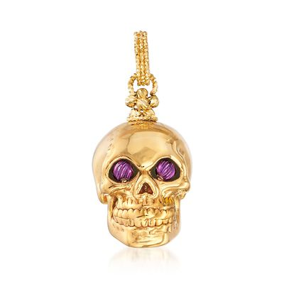 Italian 14kt Yellow Gold Skull Pendant with Purple Eyes, , default