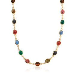 C. 1980 Vintage Multi-Stone Scarab Necklace in 14kt Yellow Gold, , default