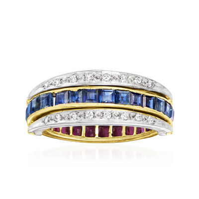 C. 1960 Vintage 2.80 ct. t.w. Multi-Gem and .12 ct. t.w. Diamond Rotating Ring in 14kt Two-Tone Gold