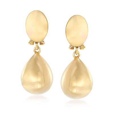 Italian 14kt Yellow Gold Teardrop Clip-On Earrings