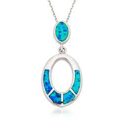 "Blue Synthetic Opal Oval Pendant Necklace in Sterling Silver. 18"", , default"