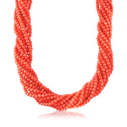 "Multi-Strand Coral Bead Necklace in 18kt Gold Over Sterling Silver. 17"", , default"