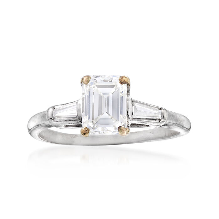 C. 1970 Vintage 1.30 ct. t.w. Diamond Ring in Platinum. Size 6.75
