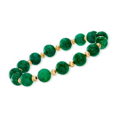90.00 ct. t.w. Emerald Bead Stretch Bracelet with 14kt Yellow Gold