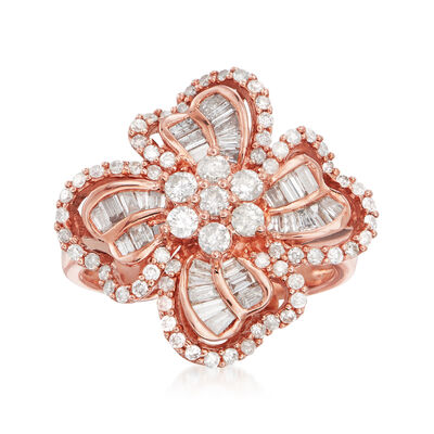 C. 1990 Vintage 1.35 ct. t.w. Diamond Clover Ring in 14kt Rose Gold, , default