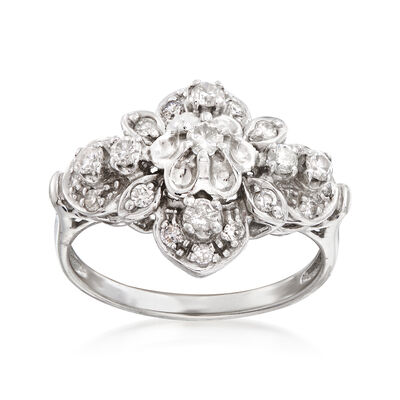 C. 1980 Vintage .65 ct. t.w. Diamond Floral Cluster Ring in 10kt White Gold, , default