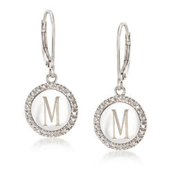 .14 ct. t.w. Diamond Single Initial Disc Drop Earrings in 14kt White Gold, , default