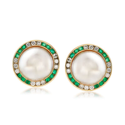 C. 1980 Vintage Mabe Pearl Earrings with 1.60 ct. t.w. Emerald and 1.50 ct. t.w. Diamonds in 14kt Gold, , default