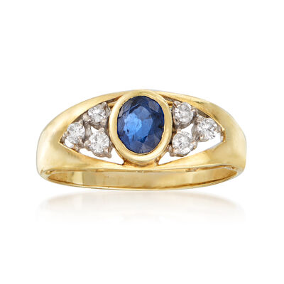 C. 1980 Vintage .50 Carat Sapphire and .12 ct. t.w. Diamond Ring in 14kt Yellow Gold, , default