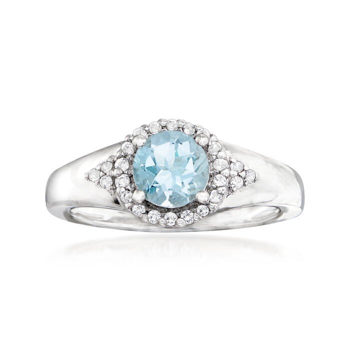 .60 Carat Aquamarine and .20 ct. t.w. White Topaz Ring in Sterling Silver