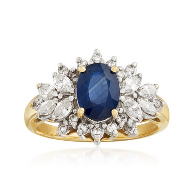 C. 1990 Vintage 1.40 Carat Sapphire and .50 ct. t.w. Diamond Cluster Ring in 14kt Yellow Gold, , default
