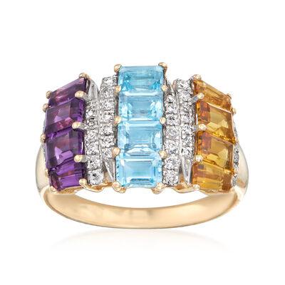 2.60 ct. t.w. Multi-Gem and .24 ct. t.w. Diamond Ring in 14kt Yellow Gold, , default