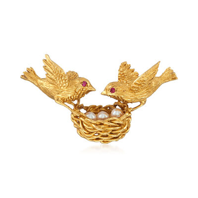 C. 1970 Vintage Cultured Pearl Bird's Nest Pin in 18kt Yellow Gold, , default