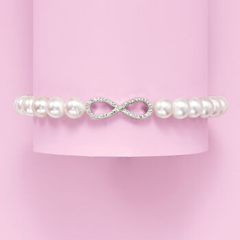 6mm Cultured Pearl Infinity Symbol Stretch Bracelet with Diamond Accents in Sterling Silver