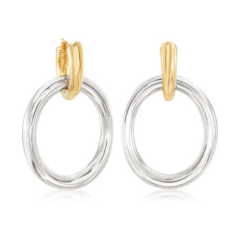 "Sterling Silver and 14kt Yellow Gold Hoop Drop Earrings. 1 5/8"", , default"