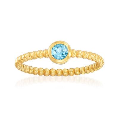 "Phillip Gavriel ""Popcorn"" .30 Carat Blue Topaz Beaded Ring in 14kt Yellow Gold, , default"