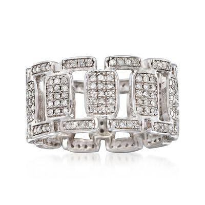 1.00 ct. t.w. Diamond Open-Link Eternity Band in Sterling Silver, , default