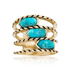 Turquoise Multi-Row Ring With Black Enamel in 18kt Yellow Gold Over Sterling, , default