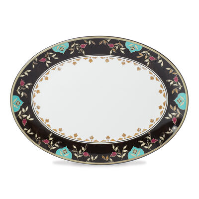 "Lenox ""Global Tapestry"" Garnet Lotus Oval Platter, , default"