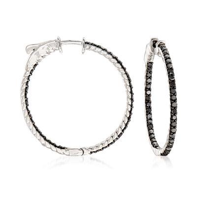 1.00 ct. t.w. Black Diamond Inside-Outside Hoop Earrings in Sterling Silver, , default