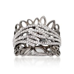.40 ct. t.w. Diamond Nature-Inspired Openwork Ring in 14kt White Gold. Size 5, , default