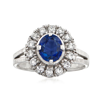 1970 Vintage .85 Carat Sapphire and .42 ct. t.w. Diamond Ring in Platinum