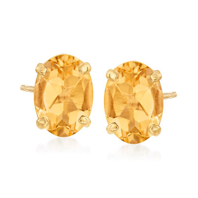 1.40 ct. t.w. Citrine Oval Stud Earrings in 14kt Yellow Gold