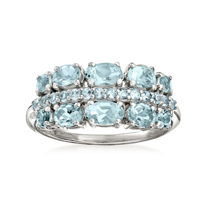 1.00 Aquamarine and .20 Swiss Blue Topaz Ring in Sterling Silver