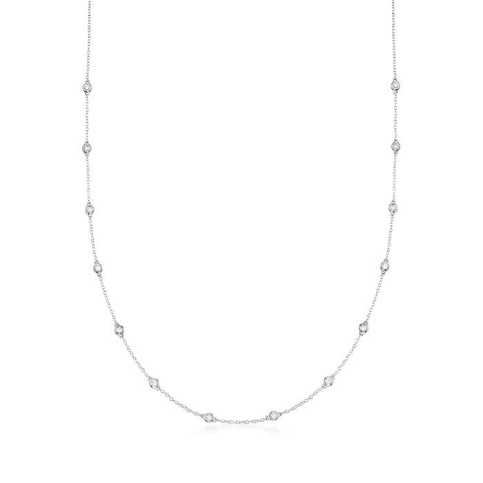 .50 ct. t.w. Bezel-Set Diamond Station Necklace in 14kt White Gold