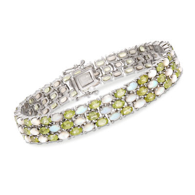 12.00 ct. t.w. Peridot and Opal Bracelet in Sterling Silver, , default