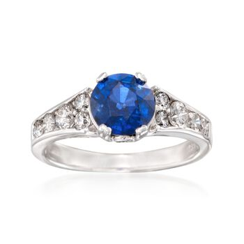 1.45 Carat Sapphire and .75 ct. t.w. Diamond Ring in 14kt White Gold, , default