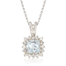 .80 Carat Aquamarine and .25 ct. t.w. Diamond Pendant Necklace in 14kt White Gold, , default