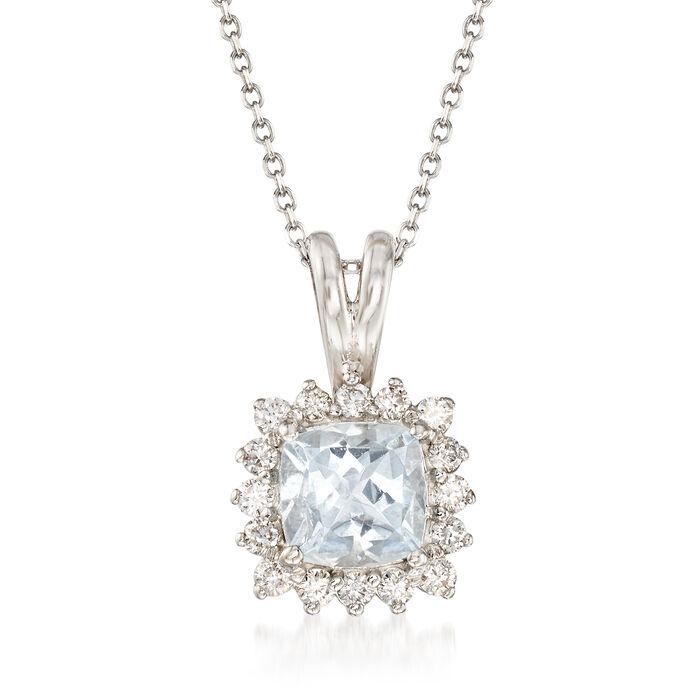 ".80 Carat Aquamarine and .25 ct. t.w. Diamond Pendant Necklace in 14kt White Gold. 16"", , default"