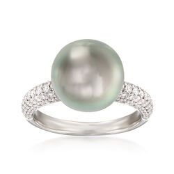"Mikimoto ""Classic"" 11mm A+ South Sea Pearl and .66 ct. t.w. Diamond Ring in 18kt White Gold, , default"