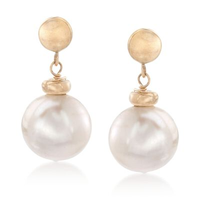 10-11mm Cultured Pearl Drop Earrings in 14kt Yellow Gold, , default