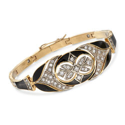 C. 1960 Vintage 1.50 ct. t.w. Diamond Bangle Bracelet With Black Enamel in 14kt Yellow Gold, , default