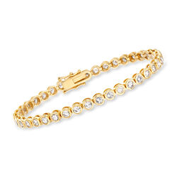"5.00 ct. t.w. Bezel-Set Diamond Tennis Bracelet in 14kt Yellow Gold. 7"", , default"