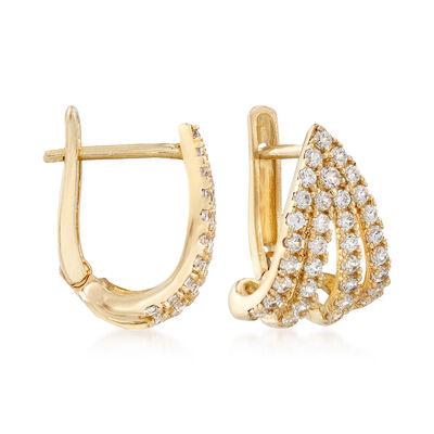 .35 ct. t.w. CZ Multi-Row Hoop Earrings in 14kt Yellow Gold , , default