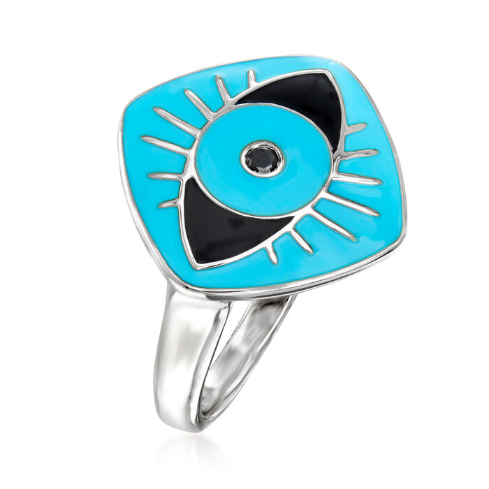 Blue and Black Enamel Evil Eye Ring with Black Diamond Accent in Sterling Silver