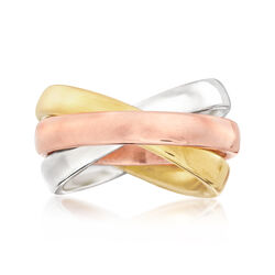 Italian Andiamo Tri-Colored Rolling Band Ring in 14kt Yellow Gold, , default
