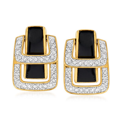 .25 ct. t.w. Diamond and Black Enamel Double- Buckle Earrings in 18kt Gold Over Sterling, , default