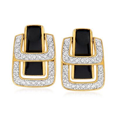 .25 ct. t.w. Diamond and Black Enamel Double- Buckle Earrings in 18kt Gold Over Sterling
