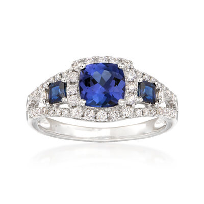 1.10 Carat Tanzanite and .30 ct. t.w. Sapphire Frame Ring with Diamonds in 14kt White Gold