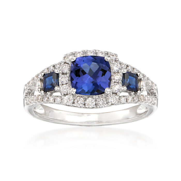 1.10 Carat Tanzanite and .30 ct. t.w. Sapphire Frame Ring with Diamonds in 14kt White Gold. Size 8