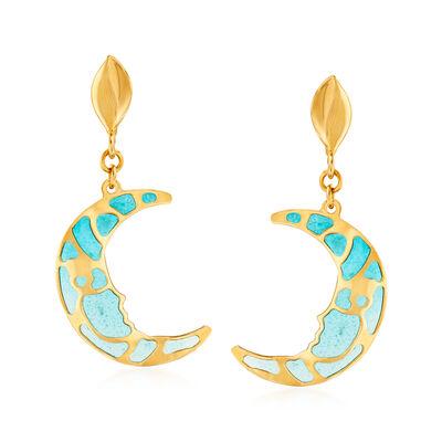 Italian 14kt Yellow Gold and Blue Enamel  Crescent Moon Drop Earrings
