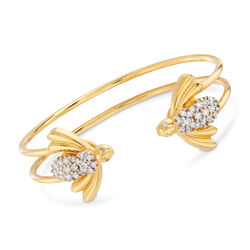C. 2000 Vintage Diamond Bee Open-Space Bracelet in 18kt Yellow Gold, , default