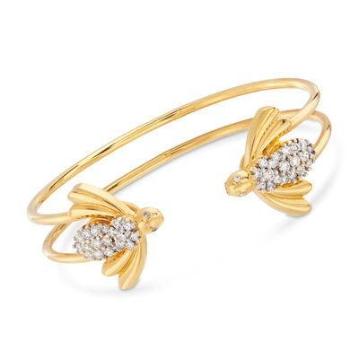 C. 2000 Vintage Diamond Bee Open-Space Bracelet in 18kt Yellow Gold, , default